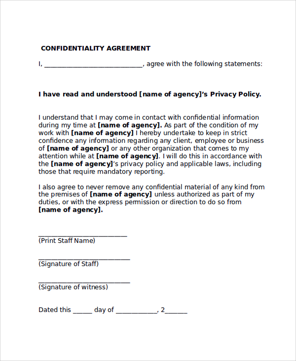 Confidentiality agreement form template business for Secrecy agreement template