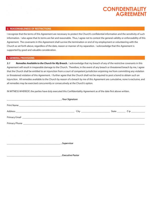confidentiality agreement form