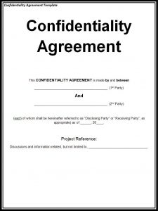 confidentiality agreement form confidentiality agreement template
