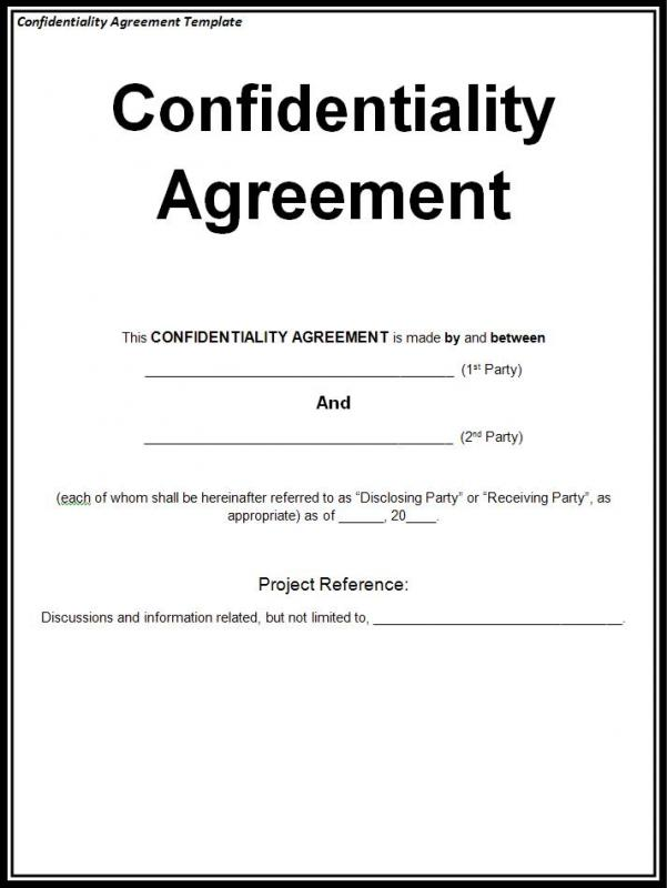 confidentiality agreement form - Confidentiality Agreement Form