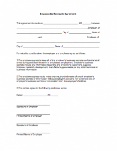 confidentiality agreement form employee confidentiality agreement1