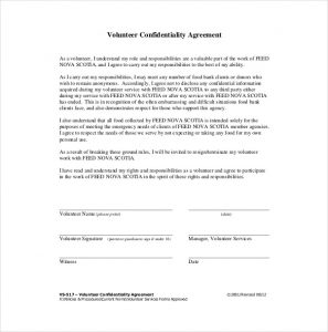 confidentiality agreement form volunteer confidentiality agreement sample pdf format