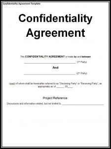 confidentiality agreement sample confidentiality agreement template