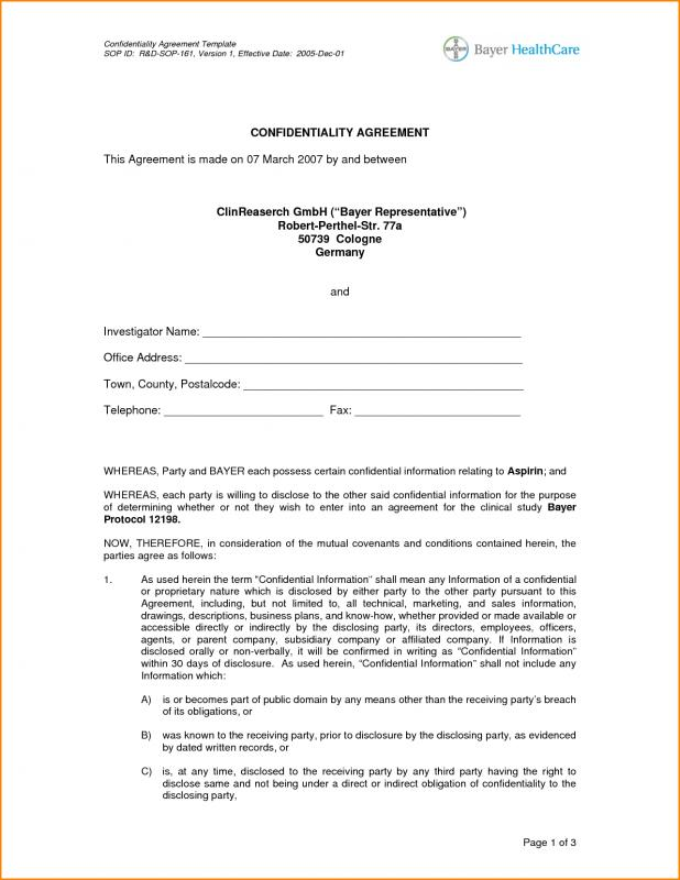 Confidentiality Agreement Sample  Template Business