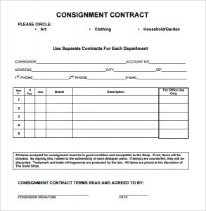 consignment agreement form tgs consignment contract