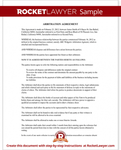 consignment agreement template sample arbitration agreement form template