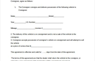 consignment contract template auto dealer consignment agreement