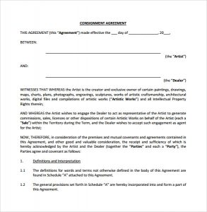 consignment contract template sample consignment agreement