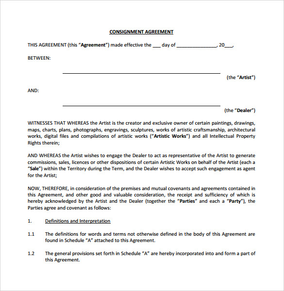 Consignment Contract Template  Free Consignment Contract Template