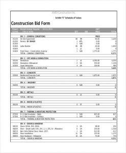 sample construction bids