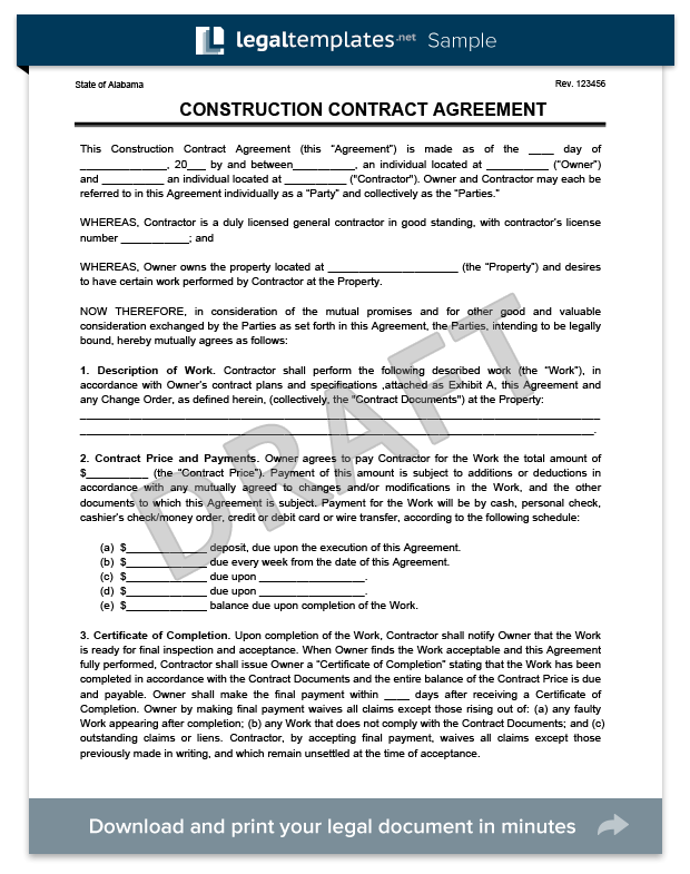 construction contract sample