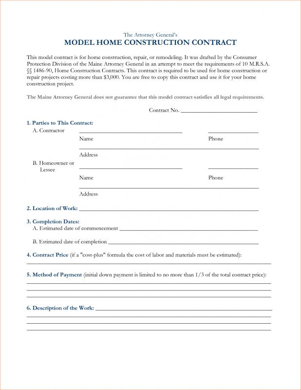 Construction Contract Sample  Template Business