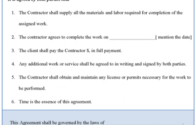 construction contract template construction agreement template