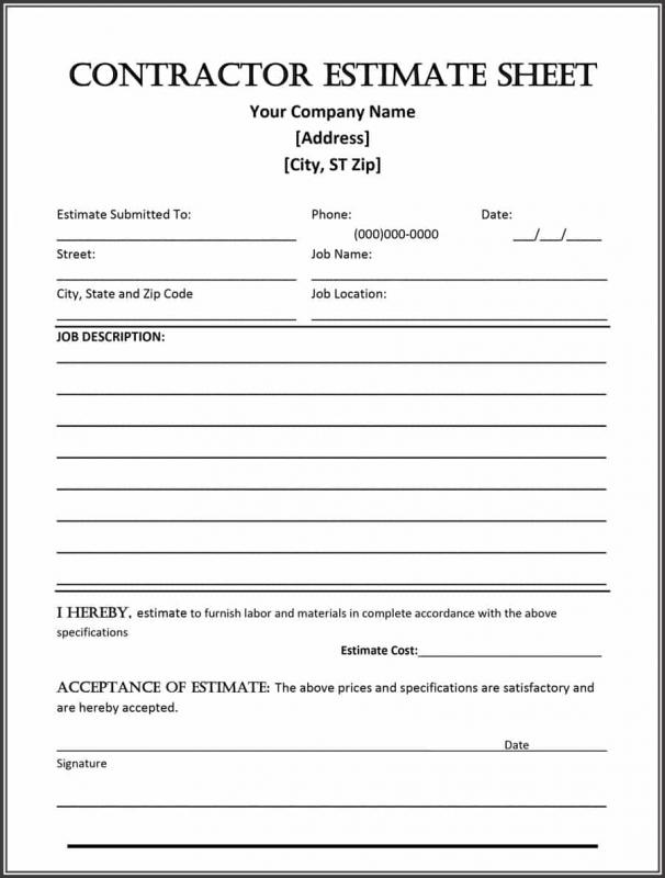 Construction Estimate Form  Template Business