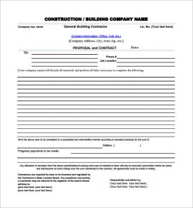 construction proposal template blank construction proposal pdf download