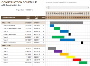 construction schedule template weekly construction schedule template