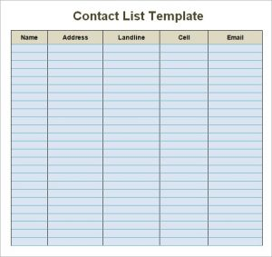 contact list template contact list template