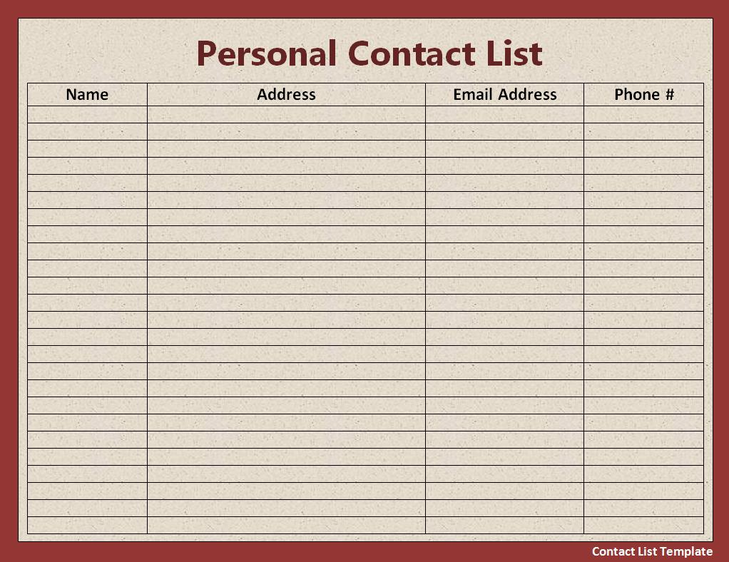 contact list template template business. Black Bedroom Furniture Sets. Home Design Ideas