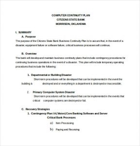 Contingency plan example template business for Credit union succession plan template