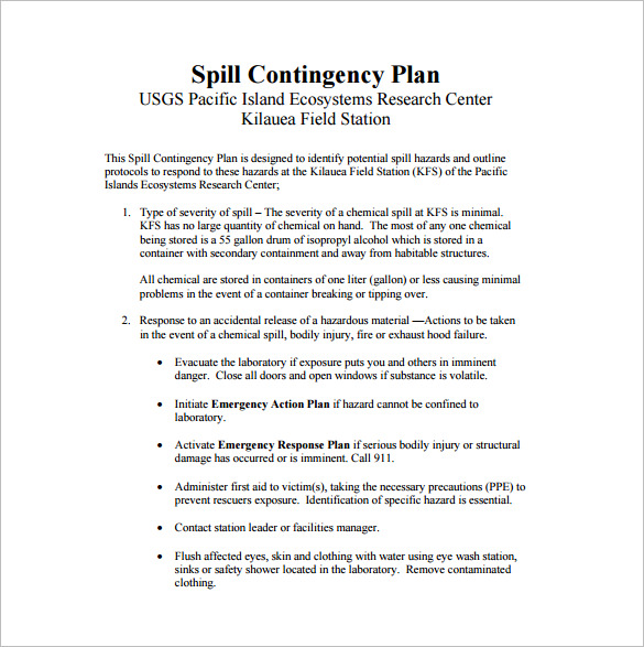 Contingency Plan Example  Template Business