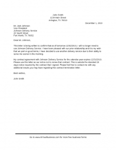contract cancellation letter contract termination sample letter