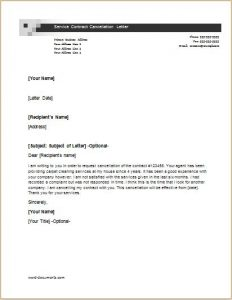 contract cancellation letter service contract cancellation letter