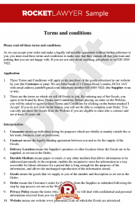 contract for services template terms and conditions for sale of goods to consumers via a website