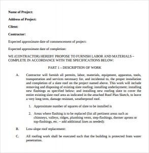 contract proposal template slate roofing installation proposal