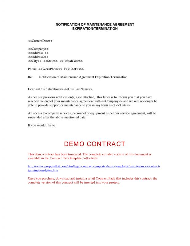 Contract Termination Letter  Template Business