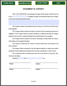 contractor agreement template assignment of contract
