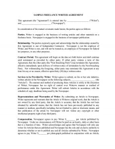 contractor agreement template freelance writer contract
