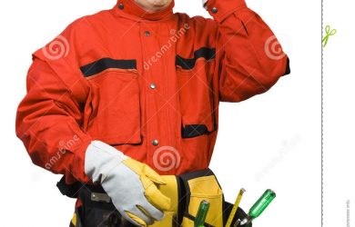 contractor business cards confused construction worker