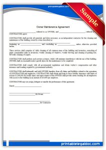 contractor contract sample printable building maintenance agreement form