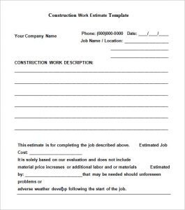 contractor estimate template free download construction estimate template