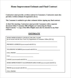 contractor estimate template sample contractor estimate template pdf download