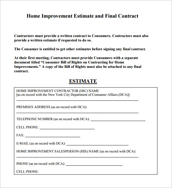 contractor estimate template