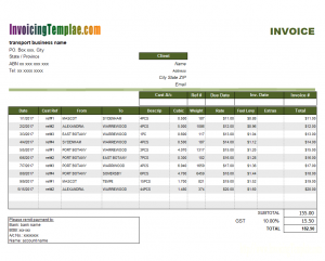 contractor invoice template transport invoice with gst printed