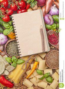 cookbook template free assortment fresh vegetables blank recipe book wooden background