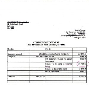 copy of bill of sale assisted sale completion statement
