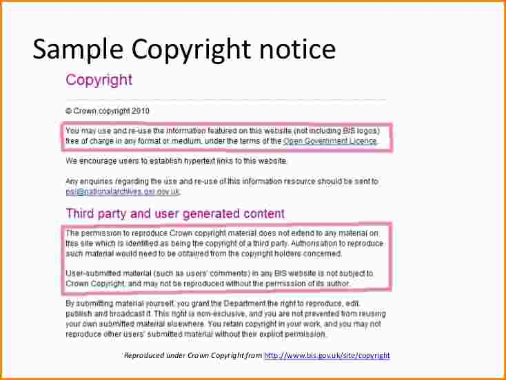 Copyright notice format template business for Copyright facts and information