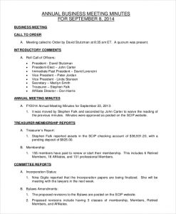 corporate meeting minutes template annual business meeting minutes