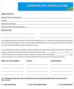corporate resolution template blank corporate resolution form