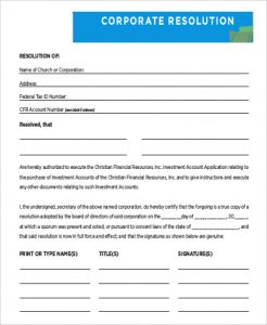corporate resolution template blank corporate resolution form sample
