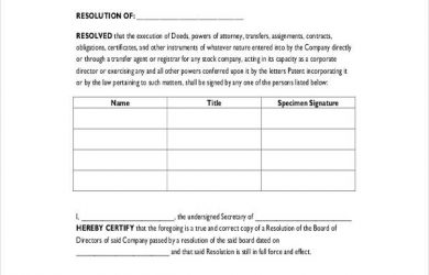 corporate resolution template corporate resolution form for signing authority
