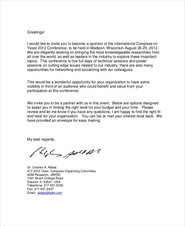 corporate sponsorship letter