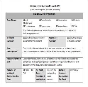 corrective action plan corrective action plan cap template