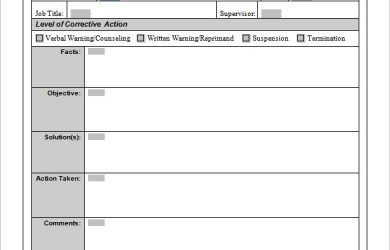 corrective action plan employee corrective action plan form template