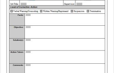 corrective action plan employee corrective action plan form template