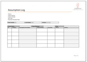 cost estimate template assumption log