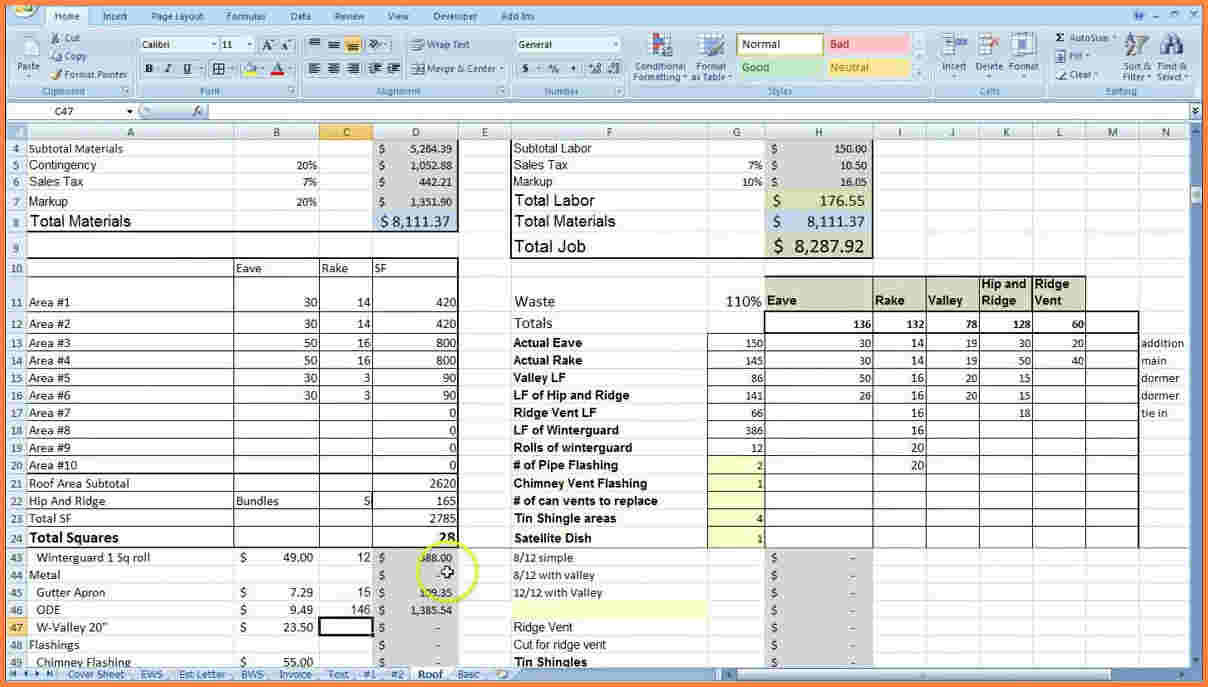 cost estimate template